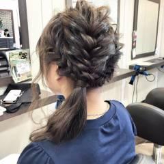 簡単ヘアアレンジ ナチュラル 大人かわいい 編み込み ヘアスタイルや髪型の写真・画像