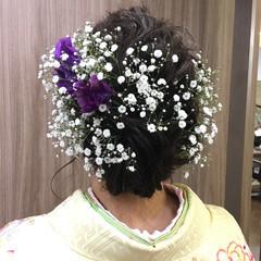 波ウェーブ 謝恩会 花 セミロング ヘアスタイルや髪型の写真・画像
