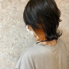 インナーカラー ショート オレンジ アディクシーカラー ヘアスタイルや髪型の写真・画像