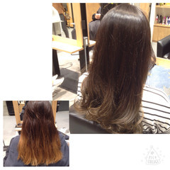 外国人風 グラデーションカラー ブルージュ ハイライト ヘアスタイルや髪型の写真・画像