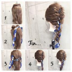 簡単ヘアアレンジ 三つ編み セミロング ヘアアクセ ヘアスタイルや髪型の写真・画像