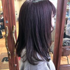 ピンク ピンクブラウン 暗髪 セミロング ヘアスタイルや髪型の写真・画像
