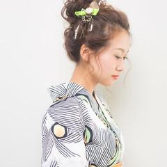 花火大会 和装 ガーリー ヘアアレンジ ヘアスタイルや髪型の写真・画像