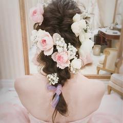 結婚式 ミディアム ナチュラル ヘアアレンジ ヘアスタイルや髪型の写真・画像
