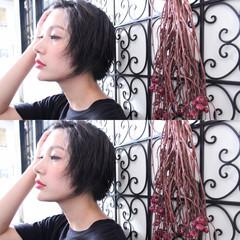 ナチュラル ショートボブ 黒髪 ニュアンス ヘアスタイルや髪型の写真・画像