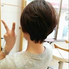 ゆるふわ ナチュラル 暗髪 ショート ヘアスタイルや髪型の写真・画像