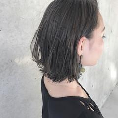 アンニュイ ボブ ナチュラル インナーカラー ヘアスタイルや髪型の写真・画像