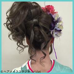 アップスタイル 着物 ヘアアレンジ ロング ヘアスタイルや髪型の写真・画像