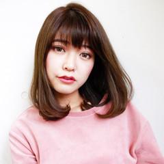 グラデーションカラー 暗髪 簡単ヘアアレンジ ミディアム ヘアスタイルや髪型の写真・画像