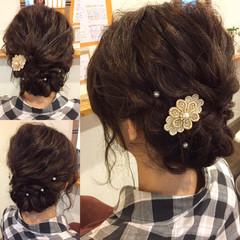 大人かわいい ヘアアレンジ セミロング 結婚式 ヘアスタイルや髪型の写真・画像
