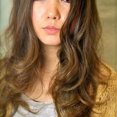 ロング 上品 ミルクティーベージュ ブラウンベージュ ヘアスタイルや髪型の写真・画像