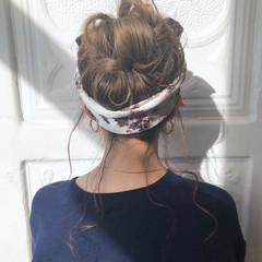 ナチュラル アウトドア 簡単ヘアアレンジ ヘアアレンジ ヘアスタイルや髪型の写真・画像
