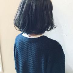 グレージュ パーマ ボブ 黒髪 ヘアスタイルや髪型の写真・画像