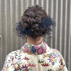 セミロング ガーリー ヘアアレンジ 結婚式 ヘアスタイルや髪型の写真・画像