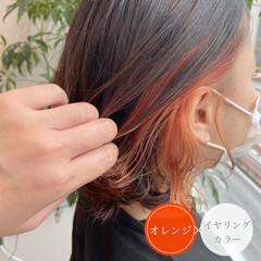 ボブ オレンジ 切りっぱなしボブ ストリート ヘアスタイルや髪型の写真・画像