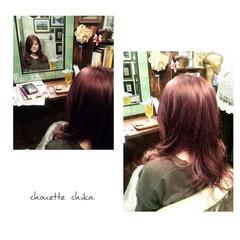 ピンク ロング ストリート レッド ヘアスタイルや髪型の写真・画像