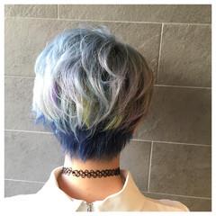 ストリート ブルー 個性的 ショート ヘアスタイルや髪型の写真・画像