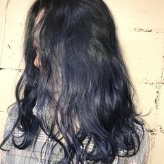 暗髪 モード ミディアム ネイビー ヘアスタイルや髪型の写真・画像