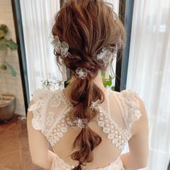 編みおろし ロング 結婚式ヘアアレンジ エレガント ヘアスタイルや髪型の写真・画像