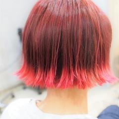 ボブ グラデーションカラー ピンク 切りっぱなし ヘアスタイルや髪型の写真・画像
