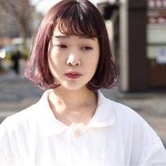 ラベンダーピンク ナチュラル ラズベリーピンク ボブ ヘアスタイルや髪型の写真・画像