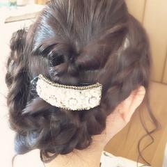 結婚式 大人かわいい 編み込み ロング ヘアスタイルや髪型の写真・画像
