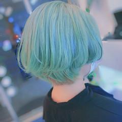 ショートヘア ストリート ショート グリーン ヘアスタイルや髪型の写真・画像