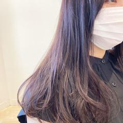 ラベンダーアッシュ ミディアム ラベンダー ラベンダーグレージュ ヘアスタイルや髪型の写真・画像