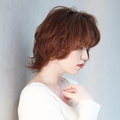 透明感カラー フェミニン レイヤーカット ミディアム ヘアスタイルや髪型の写真・画像