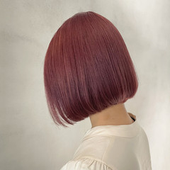 ボブ フェミニン ダブルカラー ピンクブラウン ヘアスタイルや髪型の写真・画像