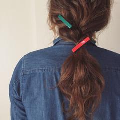 編み込み 簡単ヘアアレンジ 抜け感 ポニーテール ヘアスタイルや髪型の写真・画像