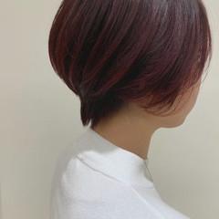 ブリーチなし フェミニン カシスレッド レッドカラー ヘアスタイルや髪型の写真・画像