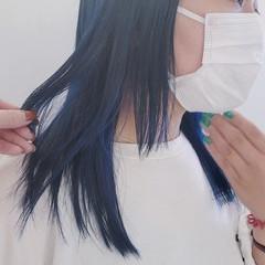 ミディアム ハイトーン ネイビーブルー ブルー ヘアスタイルや髪型の写真・画像