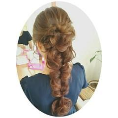 ルーズ アップスタイル 編み込み ヘアアレンジ ヘアスタイルや髪型の写真・画像