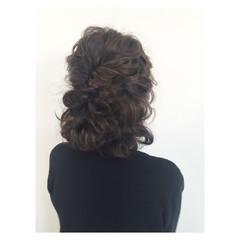 大人かわいい 編み込み ヘアアレンジ ボブ ヘアスタイルや髪型の写真・画像