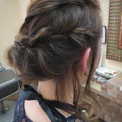 簡単ヘアアレンジ ナチュラル 編み込み セミロング ヘアスタイルや髪型の写真・画像