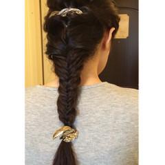 黒髪 大人かわいい ロング 編み込み ヘアスタイルや髪型の写真・画像