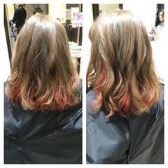 ハイライト ピンク グラデーションカラー ボブ ヘアスタイルや髪型の写真・画像