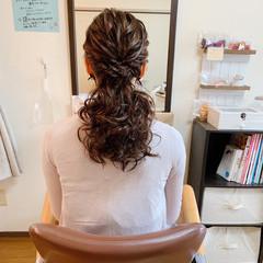 ポニーテール ローポニーテール 結婚式ヘアアレンジ お呼ばれ ヘアスタイルや髪型の写真・画像