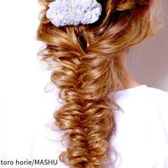 ヘアアレンジ 外国人風 フィッシュボーン ロング ヘアスタイルや髪型の写真・画像