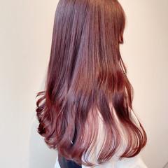 セミロング ピンクベージュ ブリーチなし ピンクアッシュ ヘアスタイルや髪型の写真・画像