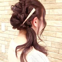 簡単ヘアアレンジ ヘアアレンジ セミロング ヘアアクセ ヘアスタイルや髪型の写真・画像