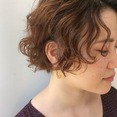 パーマ ナチュラル ショートボブ 大人かわいい ヘアスタイルや髪型の写真・画像
