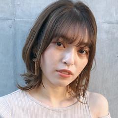 デジタルパーマ ミディアム 大人可愛い ナチュラル ヘアスタイルや髪型の写真・画像