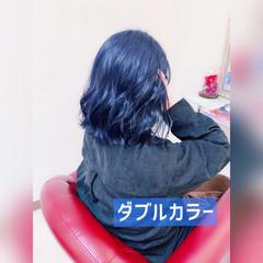 ミディアム ストリート ダブルカラー 青紫 ヘアスタイルや髪型の写真・画像