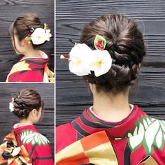 成人式 ヘアアレンジ ミディアム くるりんぱ ヘアスタイルや髪型の写真・画像