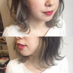 ロブ ガーリー インナーカラー ボブ ヘアスタイルや髪型の写真・画像