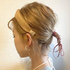 ミルクティーベージュ 簡単ヘアアレンジ ミニボブ ハイトーン ヘアスタイルや髪型の写真・画像