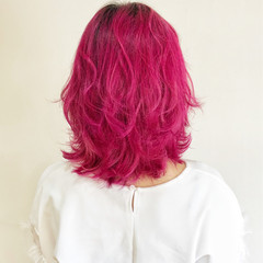 透明感 ミディアム 外国人風 ピンク ヘアスタイルや髪型の写真・画像
