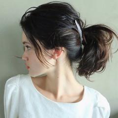 ポニーテール ショート 簡単ヘアアレンジ ミディアム ヘアスタイルや髪型の写真・画像